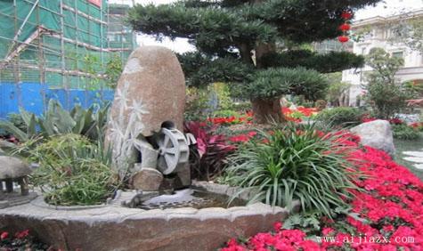 闲适惬意的石材园林景观装修效果图