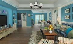 蓝色主题的田园风格客厅装修效果图