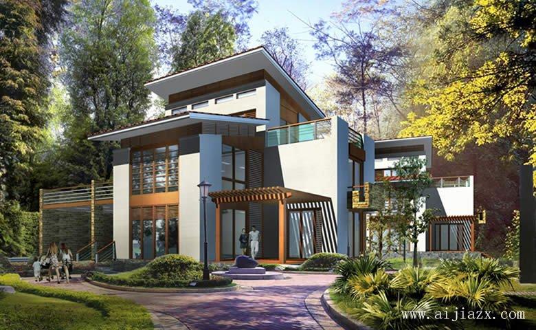 钟灵毓秀的新中式风格别墅外观装修效果图