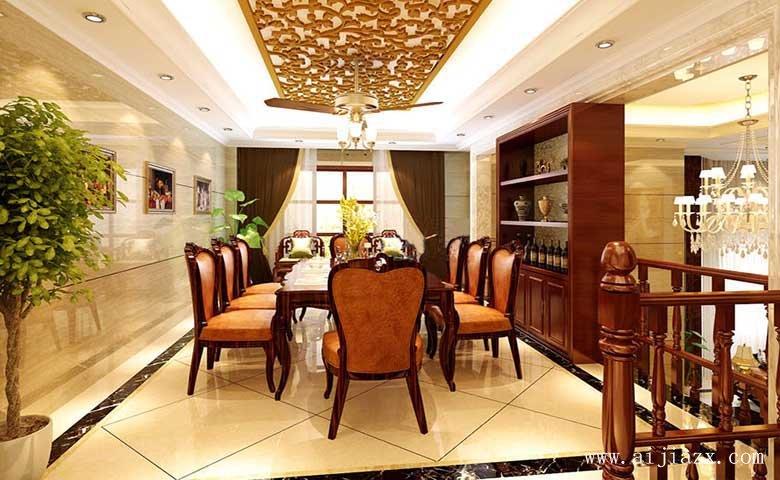 欧式风格别墅客餐厅zhuang修效guo图