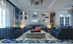 蓝白色优雅纯美地中海风格两居室装修