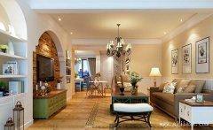 美式混搭风格三居室装修效果图