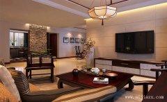 简约素净的新中式风格三居室客厅装修
