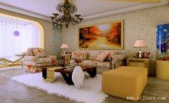 简单舒适的暖色调田园风格客厅装修效