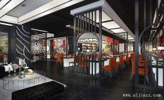 黑白色的时尚餐馆装修效果图