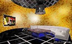 流行奢华的金色主题KTV包间装修效果图