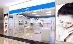 明亮蓝白色的商场化妆品专柜装修效果