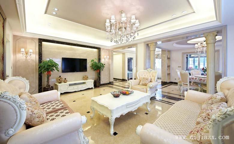 开阔da方的欧式风格liang居室客厅zhuang修效guotu
