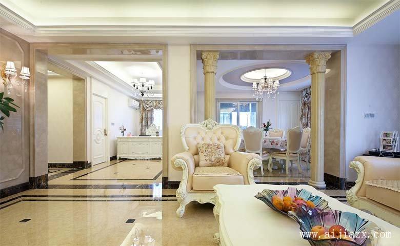 奢华you美的欧式风格liang居室客厅zhuang修效guotu