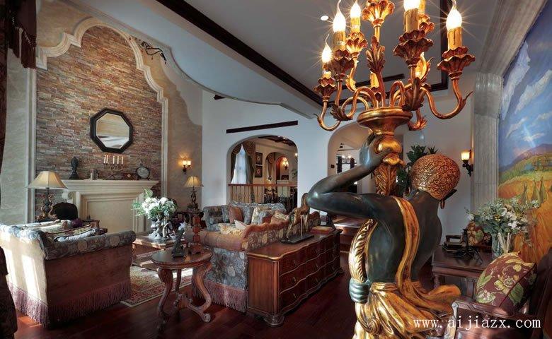 怀旧复古的美式风格超大户型客厅装修效果图