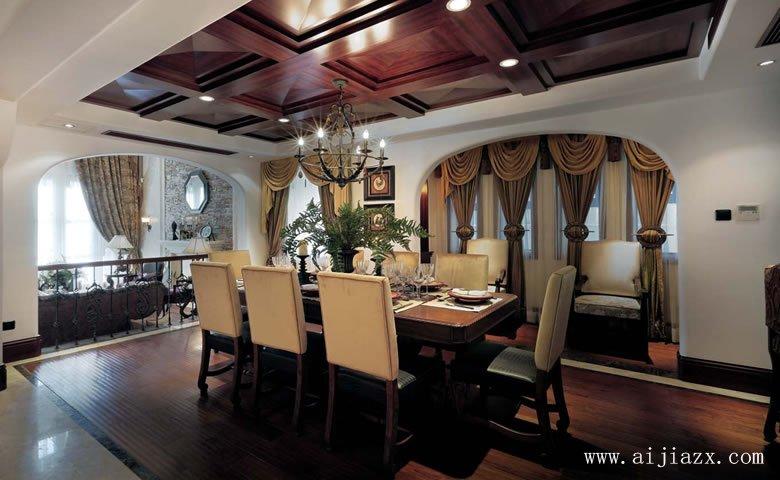 趣味开阔的美式风格超大户型餐厅装修效果图