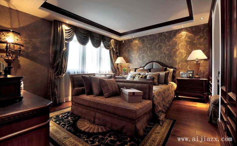 舒适大方的美式风格超大户型主卧室装修效果图
