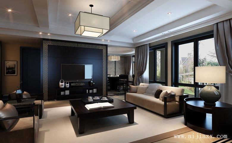 kai阔大方的新中式风格别墅客厅装修xiao果图