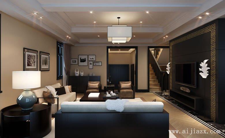 黑白色的新中式风格别墅客厅装修xiao果图